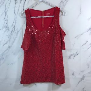 New York & Company Sequin Cold Shoulder Blouse